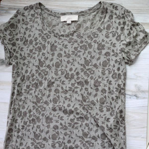 Loft Gray Knit Tee with Sheer Floral Details